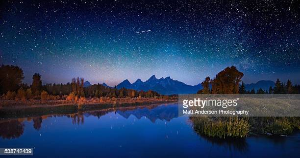 Star Filled the Sky over Grand Tetons