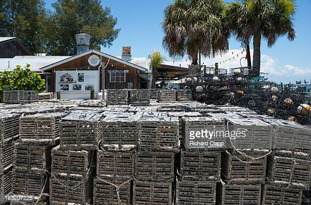 Star Fish restaurant on the waterfront of the historic working fishing village of Cortez, FL. Foreground shows stacked crab traps.