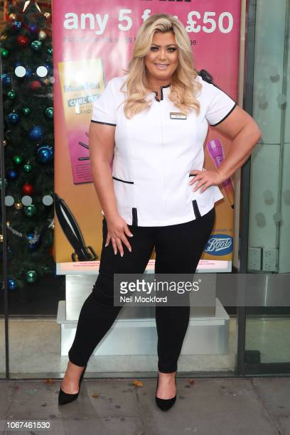 TOWIE star Gemma Collins arrives for launch of Mark Hill haircare products with in store appearance at Boots Oxford Street on November 14 2018 in...