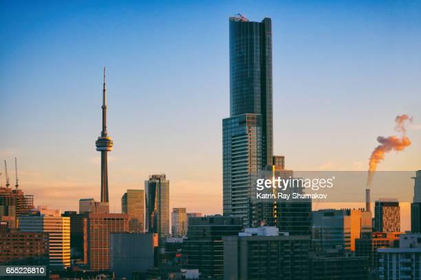 Star Giants of Toronto Cityscapes in Sunset Light