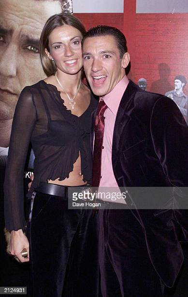 Star jockey Frankie Detorri and wife Catherine attend the UK premerie of the film 'Mean Machine' at the Odeon on December 18 2001 in Kensington...