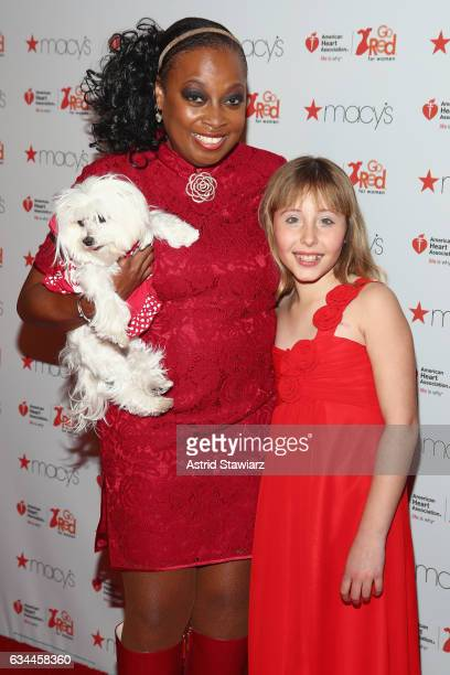 Star Jones and her dog Pinky and Sophia Montoya attend the American Heart Association's Go Red For Women Red Dress Collection 2017 presented by...
