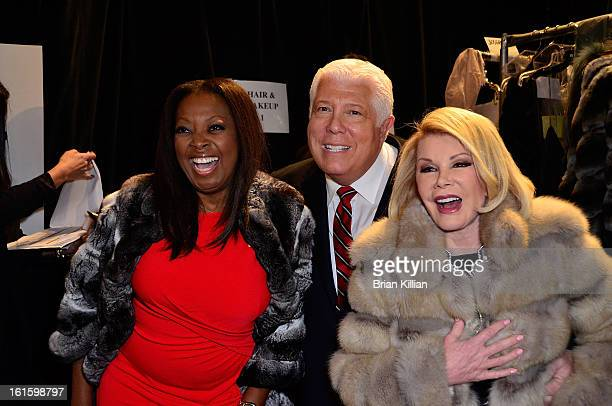 Star Jones Dennis Brasso and Joan Rivers attend Dennis Basso during Fall 2013 MercedesBenz Fashion Week at The Stage at Lincoln Center on February 12...
