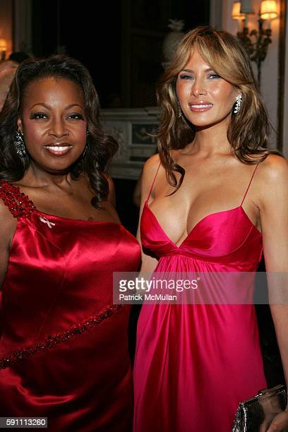 Star Jones Reynolds and Melania Knauss Trump attend The Breast Cancer Research Foundation's Annual The Red Hot Pink Party at WaldorfAstoria on April...