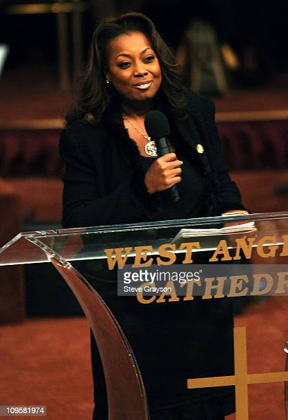 Star Jones speaks during the funeral service for the late Johnnie Cochran at the West Angeles Cathedral in Los Angeles California April 6 2005