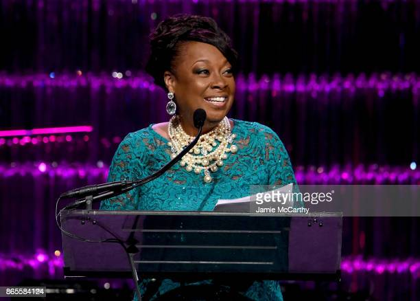 Star Jones speaks onstage at Gabrielle's Angel Foundation's Angel Ball 2017 at Cipriani Wall Street on October 23 2017 in New York City
