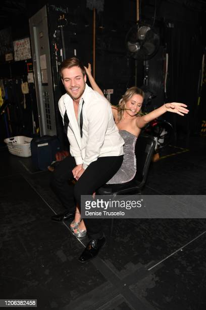 TV star Jordan Kimball gives Christina Creedon a lap dance backstage at Chippendales at Rio AllSuite Hotel Casinoon February 14 2020 in Las Vegas...