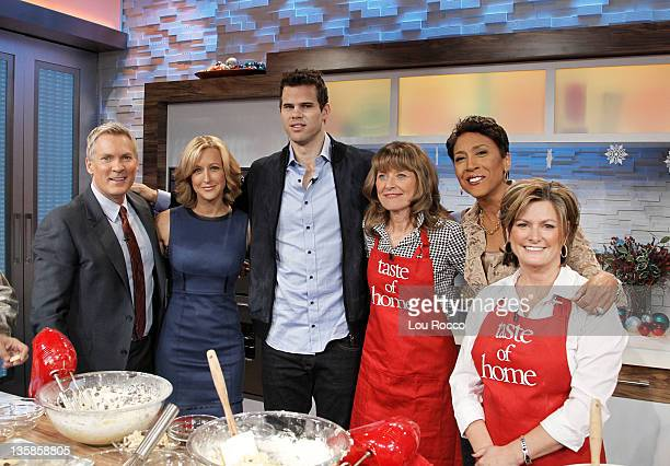 NBA star Kris Humphries and his mom Debra Humphries visit GOOD MORNING AMERICA on 12/9/11 and bake holiday cookies with Taste of Home editorinchief...