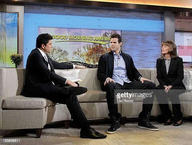 NBA star Kris Humphries and his mom Debra Humphries visit GOOD MORNING AMERICA on 12/9/11 airing on the Walt Disney Television via Getty Images...