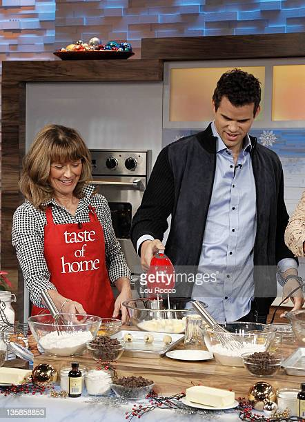 AMERICA NBA star Kris Humphries and his mom Debra Humphries visit GOOD MORNING AMERICA on 12/9/11 and bake holiday cookies with Taste of Home...