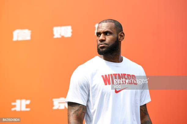 NBA star LeBron James of the Cleveland Cavaliers meets fans at a Nike store on September 4 2017 in Beijing China