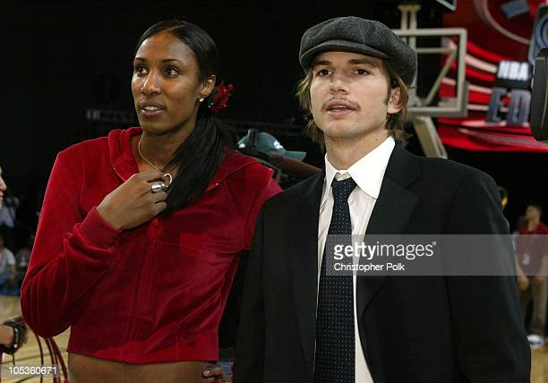 WNBA star Lisa Leslie and Ashton Kutcher during NBA AllStar Celebrity Game at Los Angeles Convention Center in Los Angeles California United States