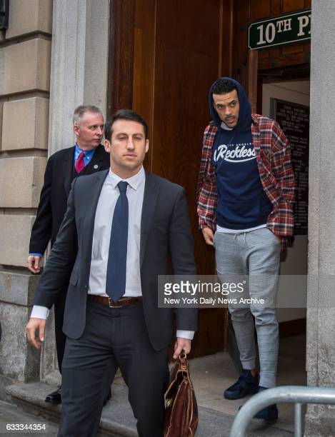 NBA star Matt Barnes who is being accused of choking a woman and then punching out the woman's boyfriend inside the a Chelsea club Avenue walks out...