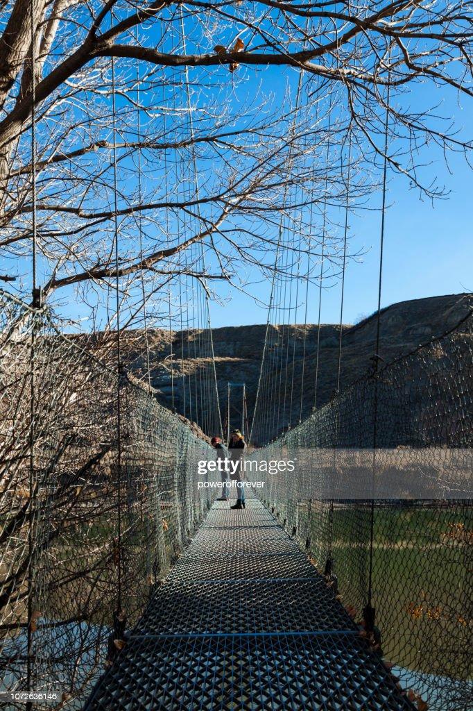 Star Mine Suspension Bridge in Drumheller Valley of the Canadian Badlands, Alberta, Canada : Stock Photo