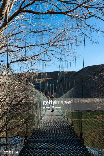 Star Mine Suspension Bridge in Drumheller Valley of the Canadian Badlands, Alberta, Canada