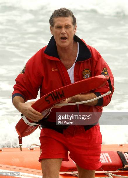 Star of Baywatch David Hasselhoff arrives for a promotion for the new Splice Real Fruit ice block at Mt Maunganui Main Beach on January 6 2011 in...