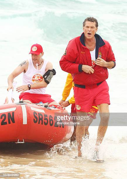 Star of Baywatch David Hasselhoff patrols the beach to promote the new 'Splice Real Fruit' ice block at Bondi Beach on January 3 2011 in Sydney...