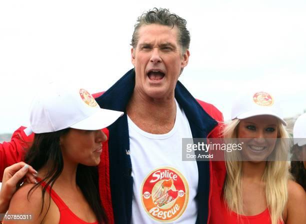 Star of Baywatch David Hasselhoff patrols the beach to promote the new 'Splice Real Fruit' ice block at Bondi Beach on January 3 2011 in Sydney...