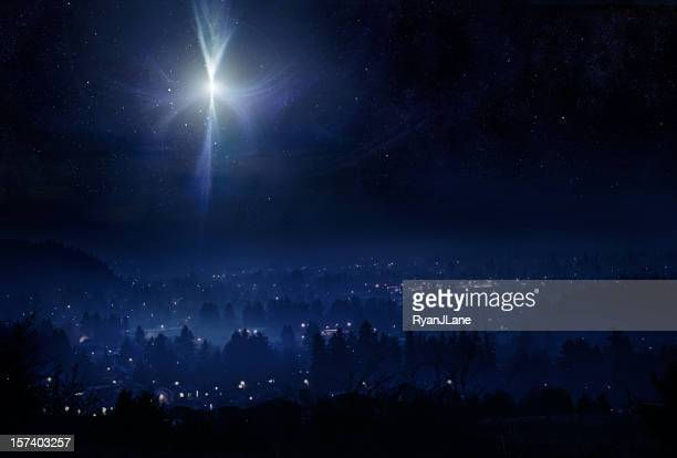 star of bethlehem night sky - religion stock pictures, royalty-free photos & images