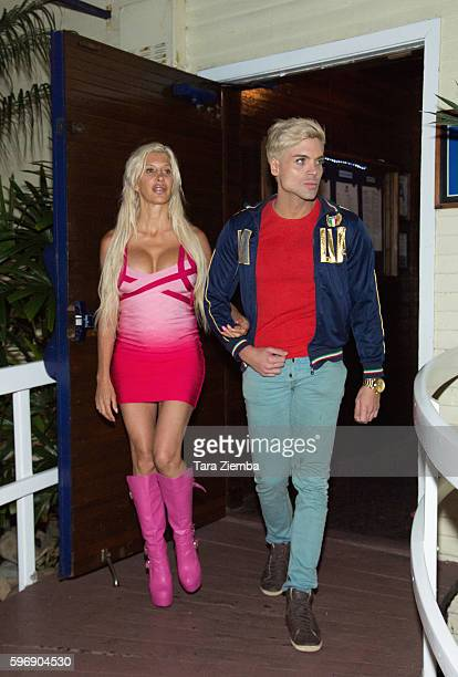 Star of 'Celebrity Big Brother 14' Angelique 'Frenchy Morgan' and Mauricio Galdi leaves Moonshadows restaurant on August 18 2016 in Malibu California