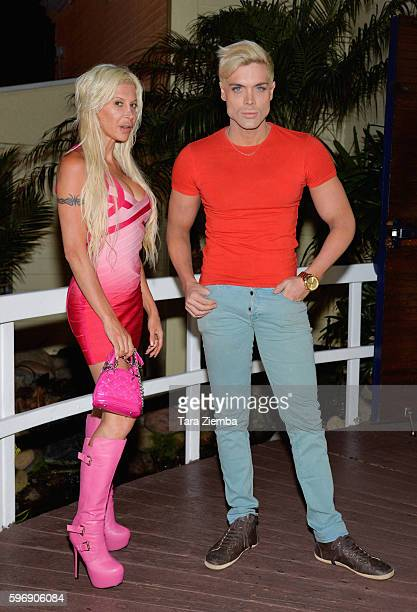 Star of 'Celebrity Big Brother 14' Angelique 'Frenchy Morgan' and Mauricio Galdi arrive at Moonshadows restaurant on August 18 2016 in Malibu...