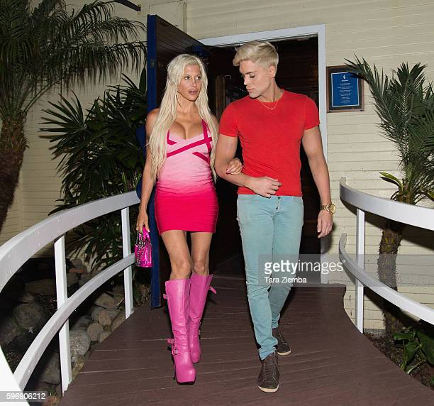 Star of 'Celebrity Big Brother 14' Angelique 'Frenchy Morgan' and Mauricio Galdi arrives at Moonshadows restaurant on August 18 2016 in Malibu...
