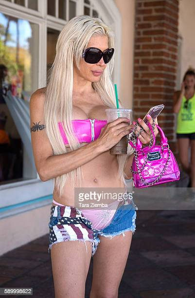 Star of Celebrity Big Brother 14 Angelique 'Frenchy Morgan' checks her cellphone on August 15 2016 in Malibu California