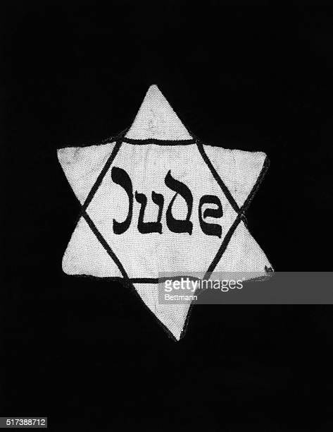 Star of David patch the Jews were forced to wear in Nazi, Germany. Undated photograph.