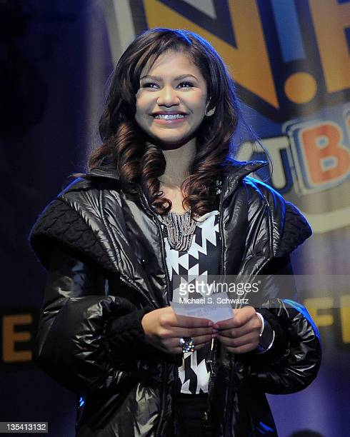 Star of Disney Channel's hit show 'Shake It Up' Zendaya comes up on stage to shake up the audience and to pick the winner of the raffle for the...
