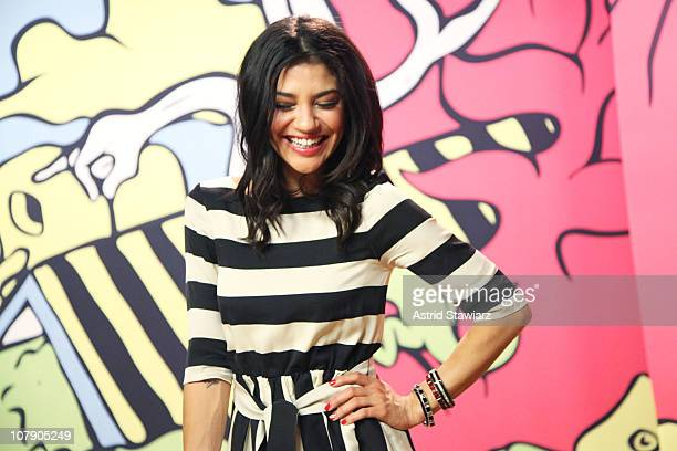 Star of Gossip Girl Jessica Szohr shows off her lizard inspired skinsuit to launch the 2011 SoBe Lifewater with electrolytes at CC Studios on January...
