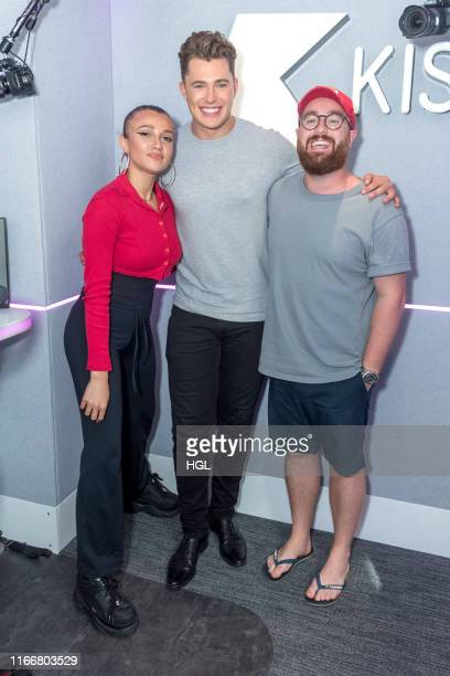 Star of Love Island Curtis Pritchard visits Daisy Maskell and Tom Green at the Kiss FM Studio's on August 08 2019 in London England