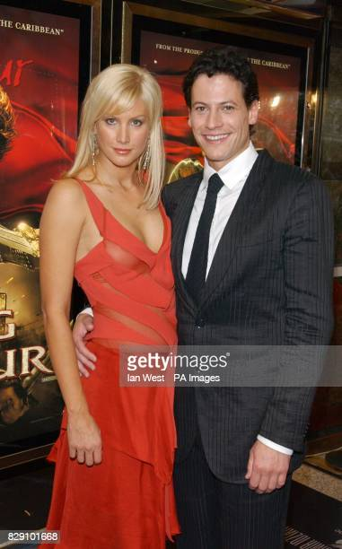 Star of the film Ioan Gruffudd and his girlfriend Alice Evans arrives for the European film premiere of King Arthur at the Empire Leicester Square in...
