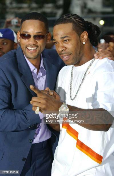 Star of the film Will Smith and rap artist Busta Rhymes arrive for the UK premiere of I Robot at the Odeon Leicester Square in central London