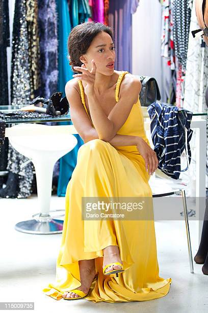 Star of Viva Riva movie Manie Malone attends a fitting at Marc Bouwer on June 1 2011 in New York City