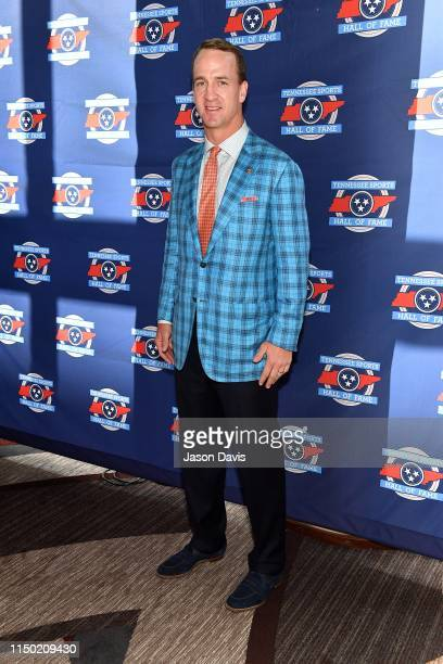 Star Peyton Manning arrives at the 2019 Tennessee Sports Hall of Fame Induction Ceremony at Omni Hotel on June 15 2019 in Nashville Tennessee