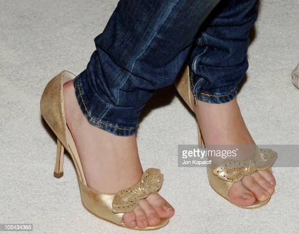 c1a0f75993ce Star Scarlett Johansson s shoes at the special sneak peek of footage from  DreamWorks and Warner Bros