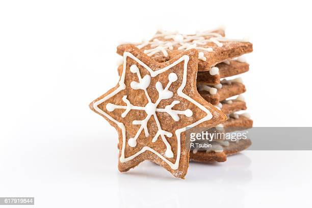 Star shape christmas gingerbread cookies