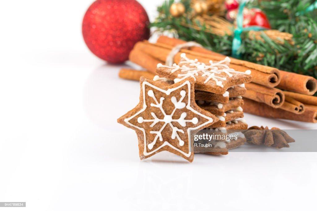 Star shape christmas gingerbread cookies : Stock Photo