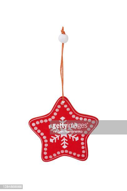 star shape wooden christmas pendant ornament for xmas tree hanging decoration - star shape stock pictures, royalty-free photos & images