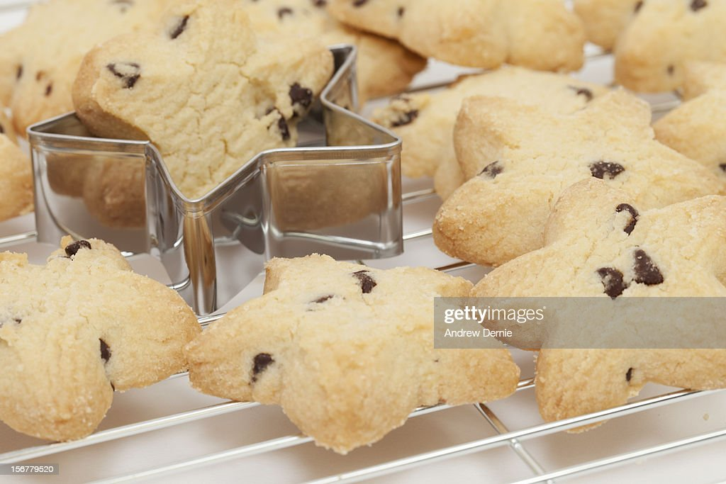 Star Shaped Chocolate Chip Christmas Cookies Stock Photo Getty Images
