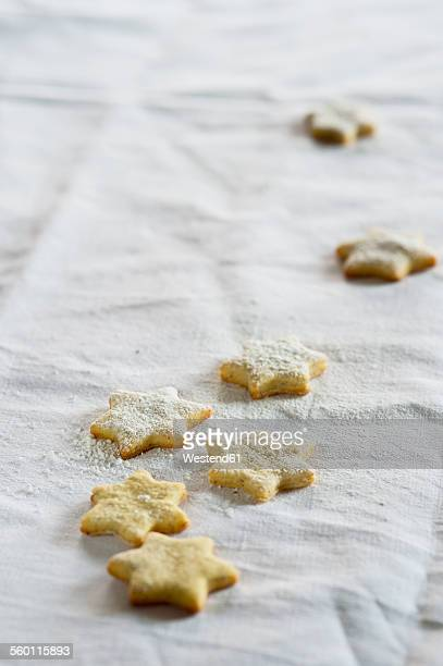Star shaped shortbreads on white cloth