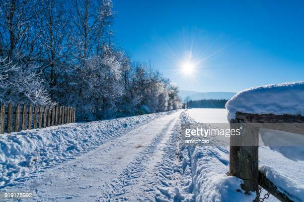 star shaped sun over winter landscape with snow