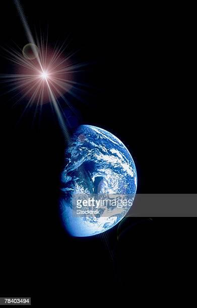 Star shining over Earth