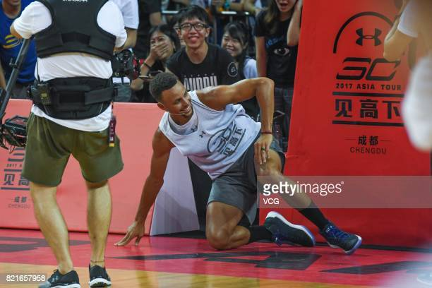 NBA star Stephen Curry of Golden State Warriors meets fans at University of Electronic Science and Technology of China on July 24 2017 in Chengdu...