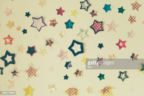 Star stickers plastered on the wall Background