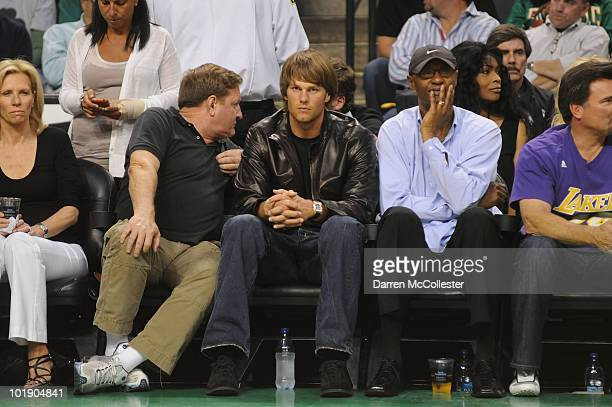 Star Tom Brady and Joe Jellybean Bryant watch as the Los Angeles Lakers go head to head with the Boston Celtics in Game Three of the 2010 NBA Finals...