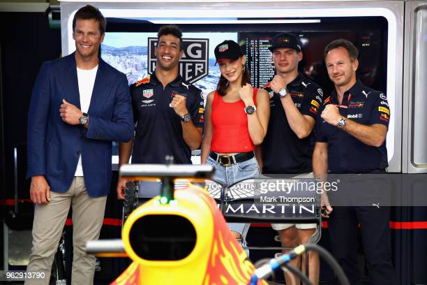 NFL star Tom Brady Daniel Ricciardo of Australia and Red Bull Racing supermodel Bella Hadid Max Verstappen of Netherlands and Red Bull Racing and Red...