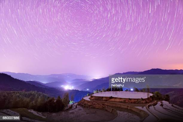 Star trail above rice terraces,South East China