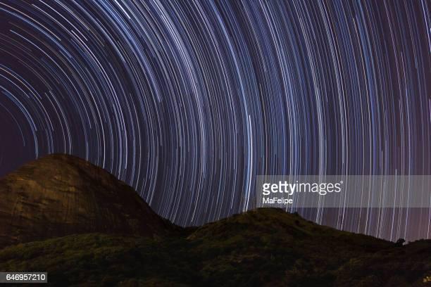 Star trail over mountain in Rio de Janeiro