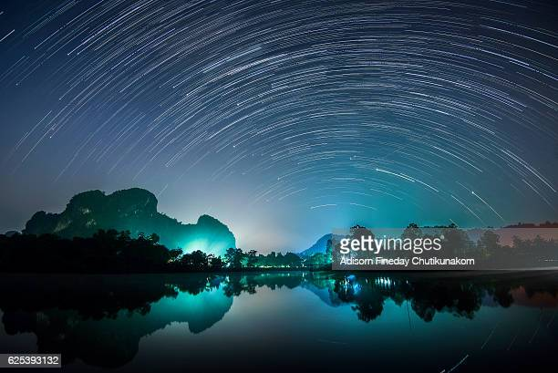 Star trail over Mountain